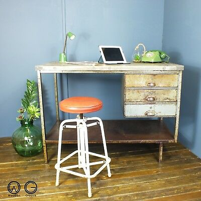 Vintage industrial chic French metal desk workbench retro salvaged reclaimed