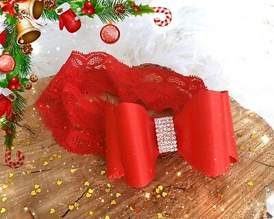 Christmas Xmas Party Satin Double Bow Rhinestones  Baby Newborn Lace Hair Band