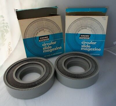 2x Vintage Gnome Circular Slide Magazine Carousel for 122 Slides Each