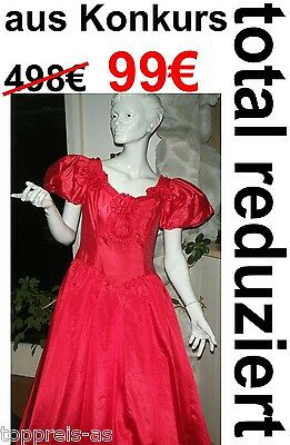 Wedding Dress Prom Red 38 40 42 Gown Fancy Carnival Princess New