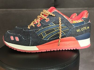 ASICS GEL Denim LYTE V Sz 13 Selvedge Japan Denim GEL Noir Rouge 049b9b