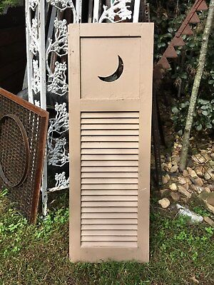 Vtg Architectural salvage Wood Shutter Halloween Cresent  Moon Cut in 51in x 17i