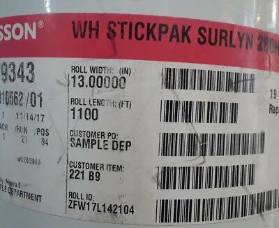 79343 FASSON WH STICKPAK SURLYN 280HB Rapid Roll 13'' Wide 1100 ft