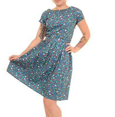WOMENS RUN & FLY Indie Retro Vintage 50's style blue ladybird tea dress