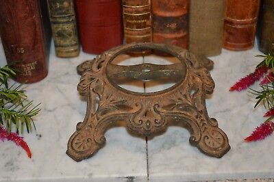 Antique Rustic Cast Iron Lamp or Candle Base Architectural Salvage Repurpose