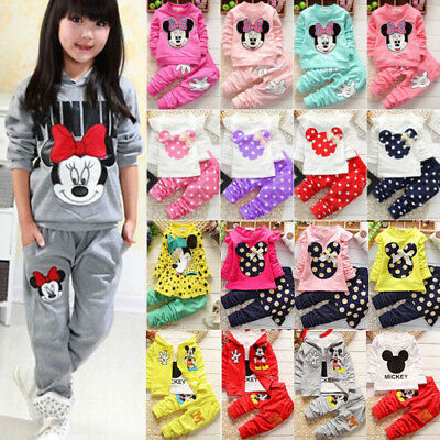 Toddler Kids Baby Girls Cartoon Minnie Mouse Outfits Clothes 2Pcs Set Tops+Pants