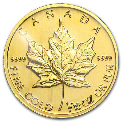 1992 Canada 1/10 oz Gold Maple Leaf BU - SKU #84229