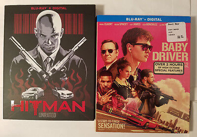 Hitman: Unrated + Baby Driver (Blu-ray w Rare Slip Covers, No Digital)