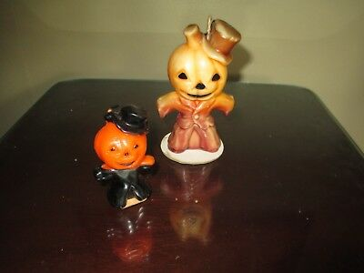 Nice Vintage Gurley Halloween Pumpkin Men Candles ~ 2 Sizes Offered ~ Great Look