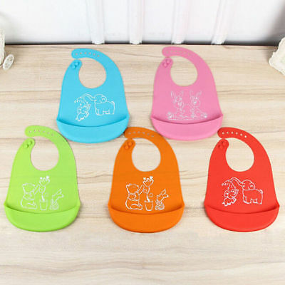 Silicone Waterproof Baby Bibs Cartoon Soft Feeding Saliva Aprons Foldable S