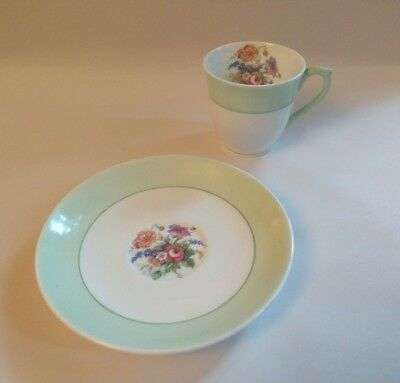 Colclough Fine Bone China Longton England Demitasse Cup Saucer Green Floral