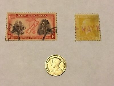 Rare Silver 1933 3P New Zealand Coin & Stamp Ww2 1840-1940 1P & 2P 1940 Lot