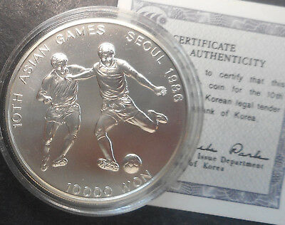 South Korea 1986  Asian Games Soccer 10,000 Won  Uncirculated Silver Coin  Nice