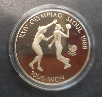 South Korea 1987 Olympic Basketball  1000 Won  Proof  Coin Nice