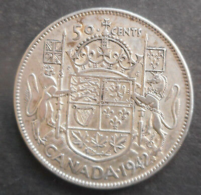 Canada  1942  George VI   50 cent Silver Coin NICE