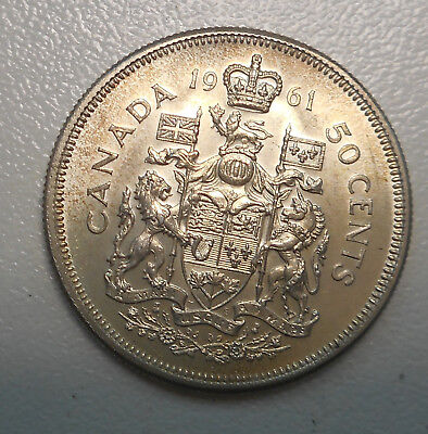 Canada  19 QEII   50 cent Silver Coin NICE Prooflike Fields UNC