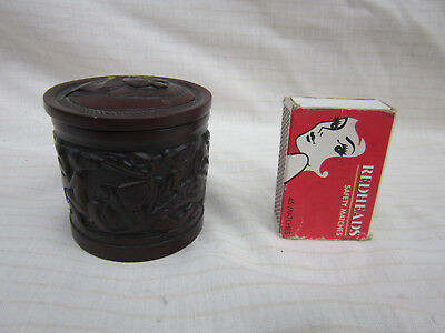 Boma Trinket Box with Lid, Made in Canada Indian Vintage Wooden Jewelery