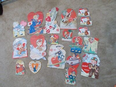 Lot of 19 Vintage 1940's Military Valentine Cards - USED - 11 moving; Ships Free