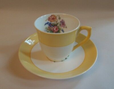 Colclough Fine Bone China Longton England Demitasse Cup Saucer Yellow Floral