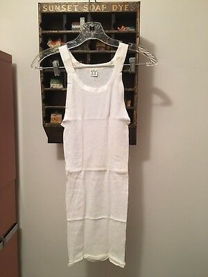 Vtg NOS Boy's White Ribbed Cotton USA made Wife Beater Athletic T-Shirt Sz 18