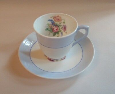 Colclough Fine Bone China Longton England Demitasse Cup Saucer Blue Floral