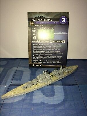 Axis and Allies War at Sea Task Force HMS King George V 15/60 with card