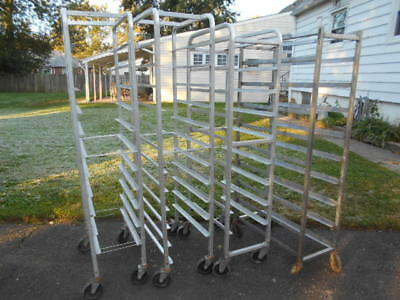 Lot of (4) USED Aluminum Commercial Rolling Meat Platter/Bakery Carts