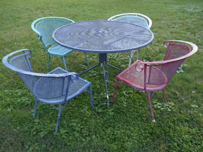 "Antique 1960's(5)pc.Wrought Iron Patio 42"" Mesh TopTable& (4) Barrel Back Chairs"