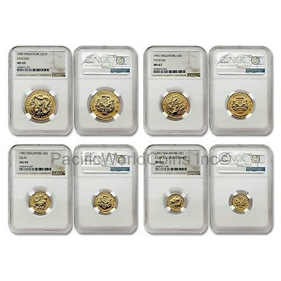 Singapore 1983 4 Coin Gold NGC MS67-69 Set