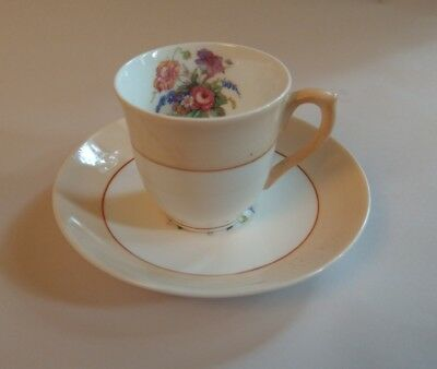 Colclough Fine Bone China Longton England Demitasse Cup Saucer Peach Floral