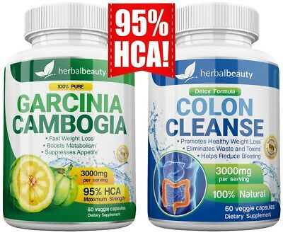 2X HerbalBeauty GARCINIA CAMBOGIA 95% + COLON CLEANSE 3000mg Weight Loss Diet