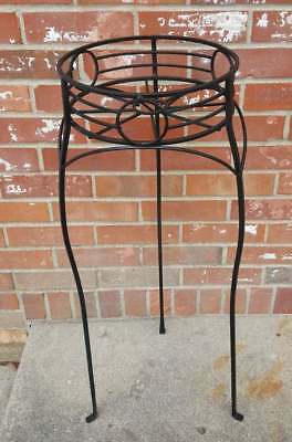 Vintage Black Wrought Iron Plant Stand Tall Geometric Design 2 Available 10X30