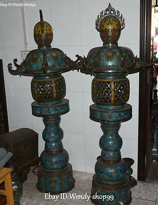 "67"" Huge Old Cloisonne Enamel Dragon Flower Loong Tower Pagoda Oil lamp Pair"