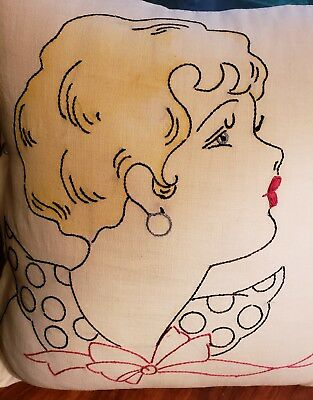 Vintage 40's Embroidered Lady Pillow