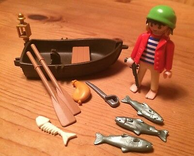 Playmobil 3937 Pirat mit Ruderboot Fischer Nicht kompl Pirate Rowing Boat 3940