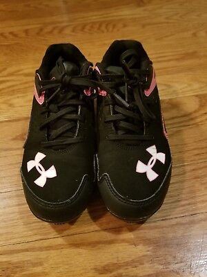 Under armour Girls Cleats Size 13K Hot Pink Athletic Shoes Black Softball...
