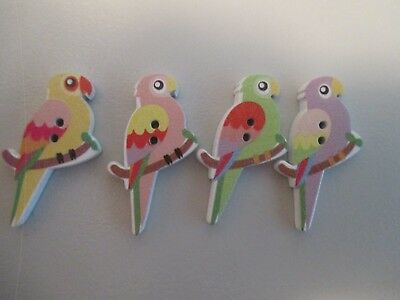 4 x 35mm long Wooden Flat Buttons- MIXED COLOUR - PARROT- 2  Holes  No.1444