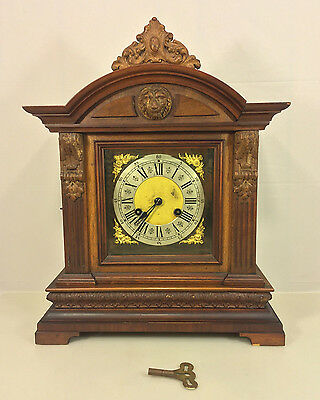 Antique German Bracket Clock Beautiful Wood Case Runs Strikes No Maker Mark