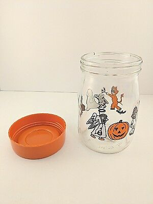 1980's Halloween Glass Candy Jar Carlton Glass Trick or Treat Costumes Vintage
