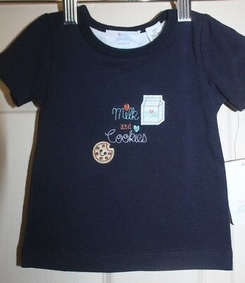 New with Tags Little Bundles navy Baby Top with Milk & cookies embroidery sz 00