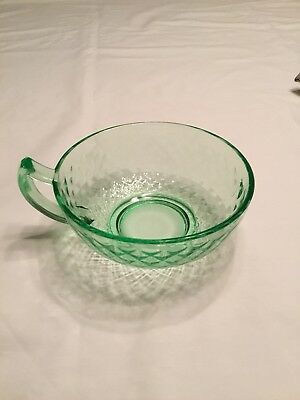 Green Depression Glass Soup Bowl with Handle