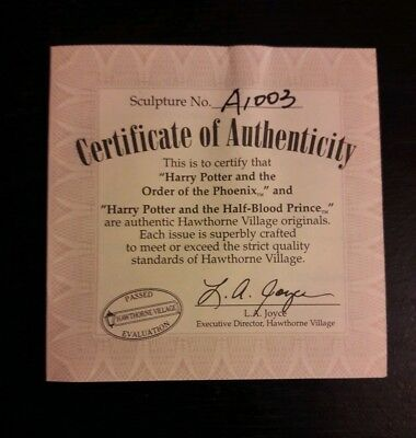 Harry Potter Certificate Of Authenticity for Hawthorne Village Collectibles