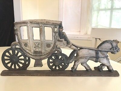 Vintage Cast Iron Horse Drawn Carriage Stagecoach Door Stop
