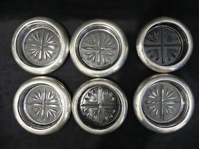 1883 F.B. Rogers Sterling Silver Rimmed Crystal Glass Coasters - 6 Coasters