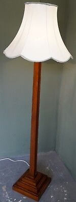 Beautiful Art Deco Style Solid Oak Standard Floor Lamp With Later Shade