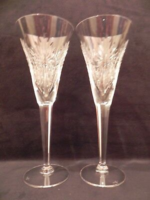 Exquisite Waterford Crystal Pair Of Millennium Health Champagne Toasting Flute