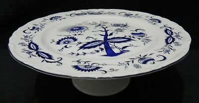 HOUSE OF PRILL Footed Cake Plate Blue Onion Great Condition