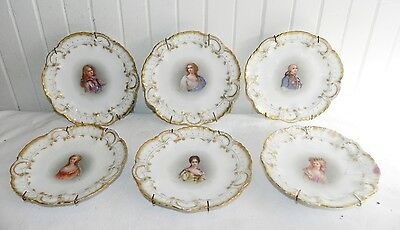 6 A Lanternier Portrait Cabinet Plates Hand Painted Limoge France Signed Antique