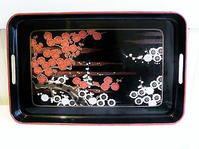 """Vintage Japanese Chinese Black Lacquer Ware Tray Cherry Blossoms 18"""" x 12"""" Japan"""