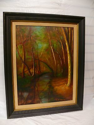 Vintage Original Acrylic/Oil Painting Artist Signed D Pierce Forest Landscape